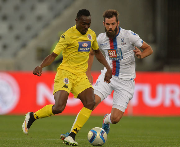 Dove Wome of Supersport United evades challenge from Joe Ledley of Crystal Palace during the 2015 Cape Town Cup Football Match between Supersport United and Crystal Palace at Cape Town Stadium, Cape Town, 24 July 2015