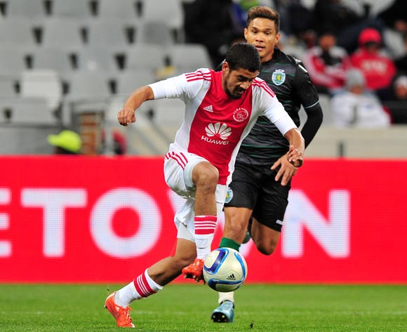 Abbubaker Mobara of Ajax Cape Town pulls away from Teofilo Gutierrez of Sporting Lisbon during the 2015 Cape Town Cup game between Ajax Cape Town and Sporting Lisbon at Cape Town Stadium, Cape Town on 24 July 2015